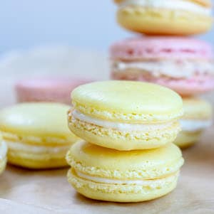 stacked yellow and pink macarons