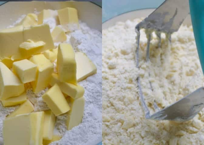 cutting the butter for the Sourdough shortcrust Pastry
