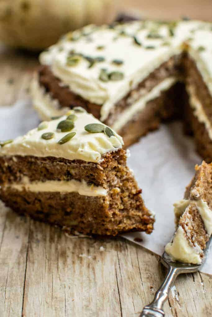 Spiced Pumpkin Cake with Whipped Lemon Cream Cheese Frosting