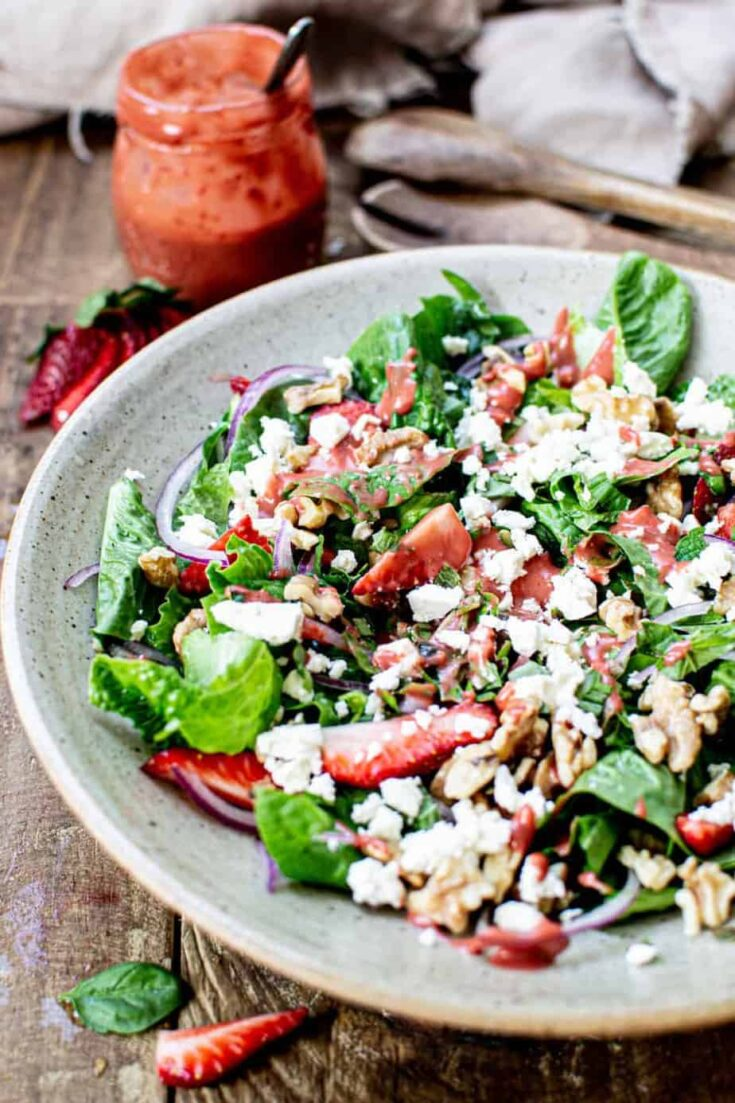 Summer Salad with Roasted Strawberry Dressing