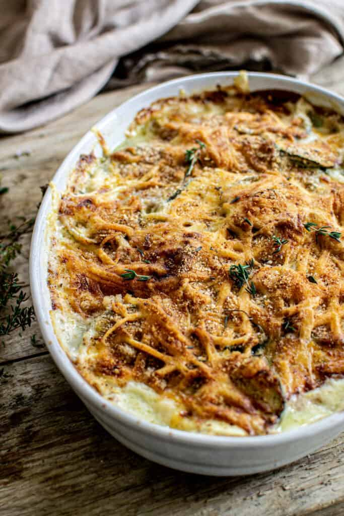 Lighter Zucchini Gratin