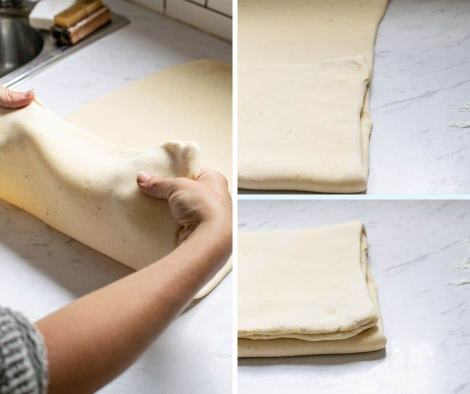 Dough being folded like a pamphlet