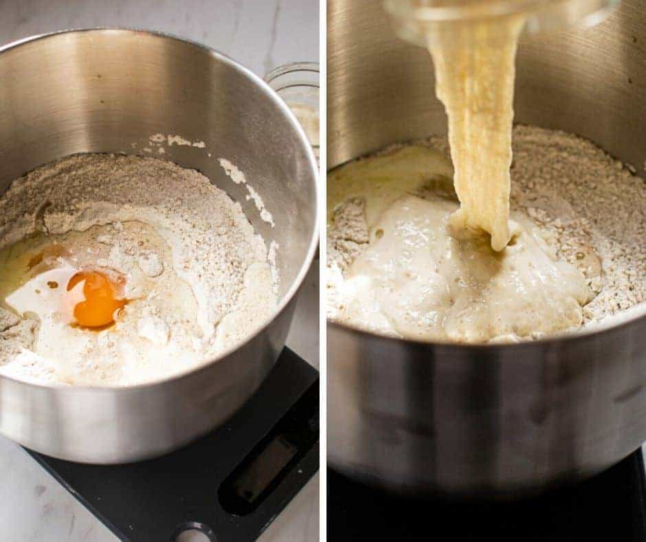 side by Side of a mixing bowl with ingredients, flour eggs and sourdough starter
