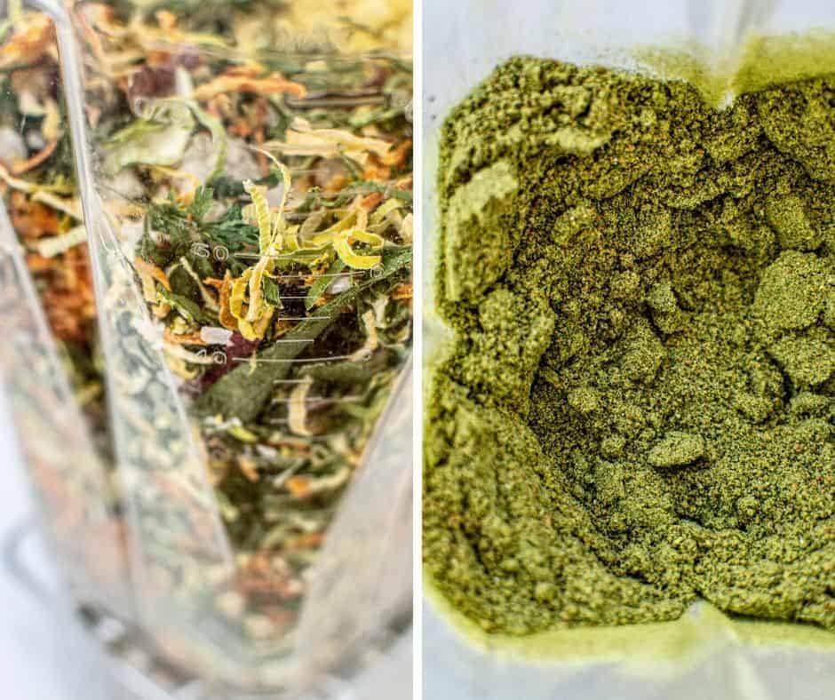 dried vegetables in blender, turned into powder