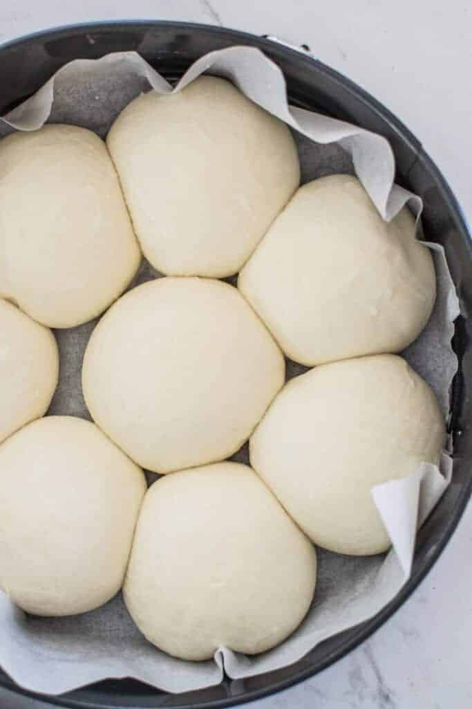 a cake tin with unbaked sourdough dinner rolls in it