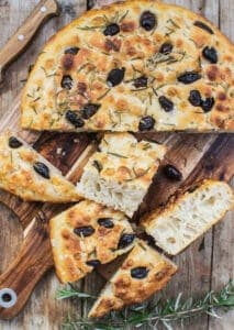 sliced sourdough focaccia bread