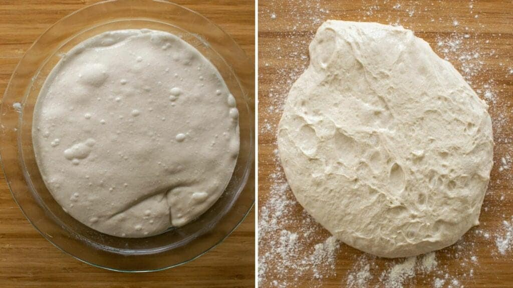 Side by side of the sourdough dough in a dish and tipped out on bench