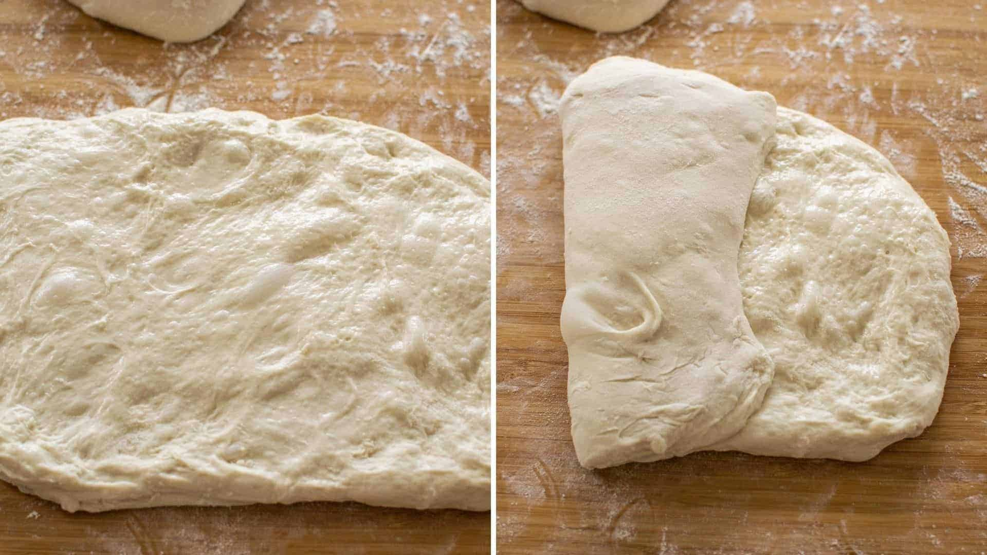 a rectangle of dough and a picture of the dough with one side folded in