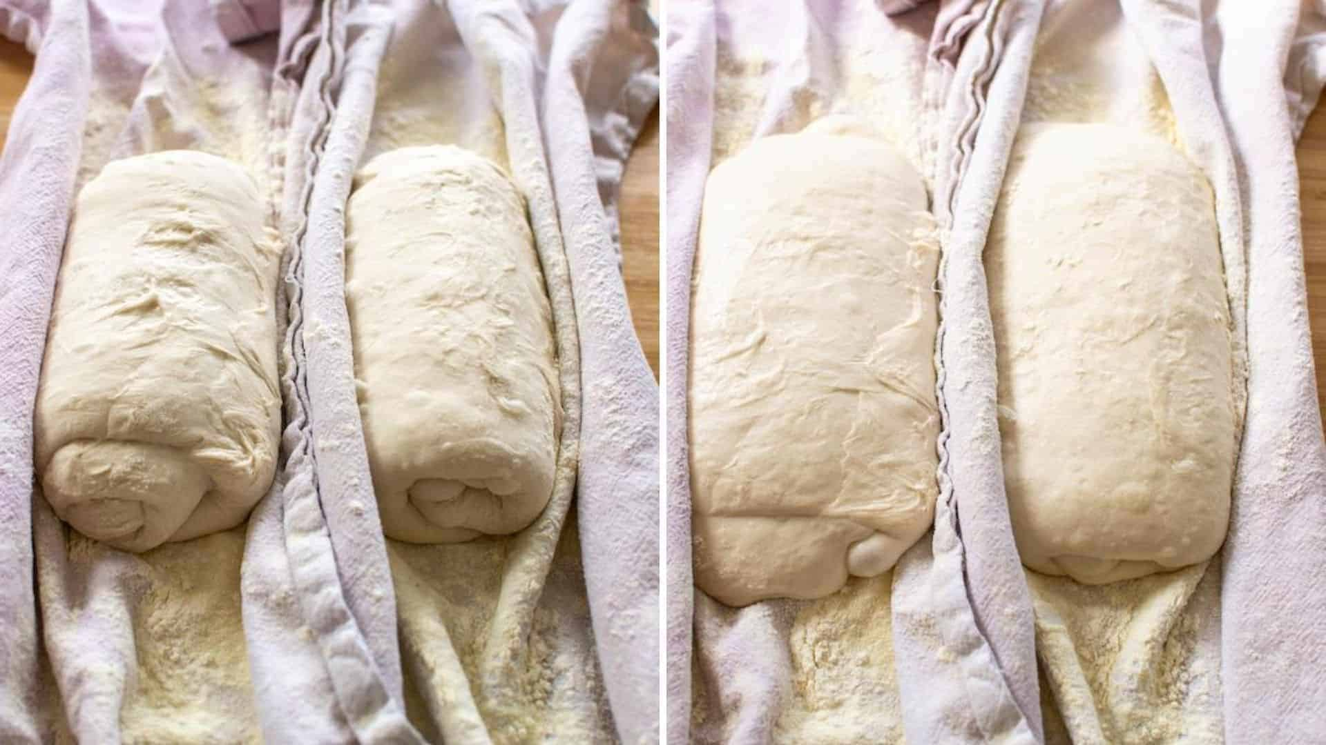Folded ciabatta dough