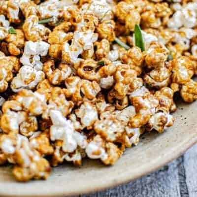 close up salted caramel rosemary popcorn