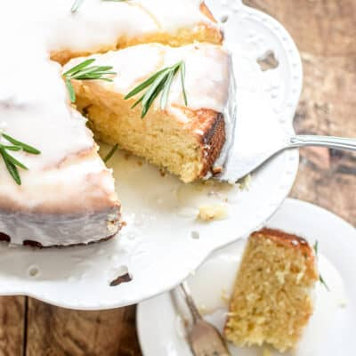 Lemon and Rosemary Yogurt Cake with a Zesty Lemon Glaze