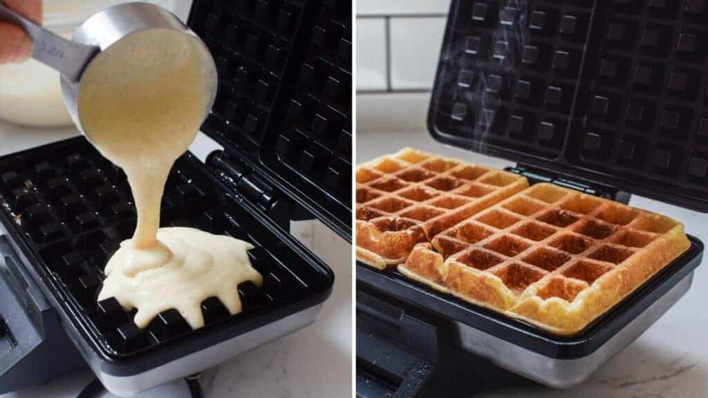 Waffle batter poured into the waffle iron on one side. baked waffles on the other side