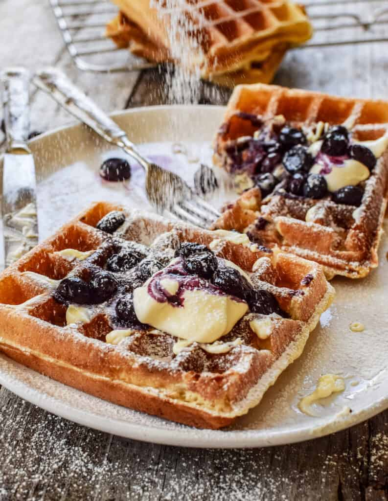 icing sugar dusted waffles