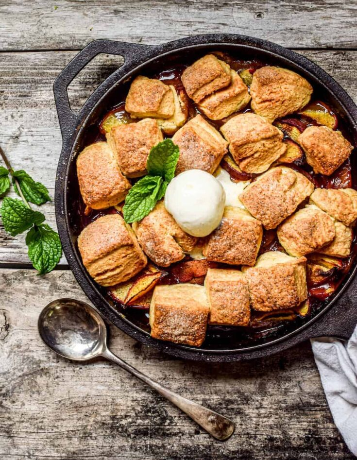 Peach Cobbler with Sourdough Biscuits