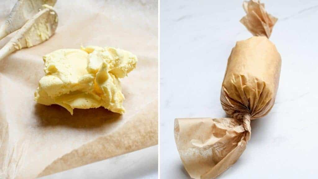 Butter rolled in paper