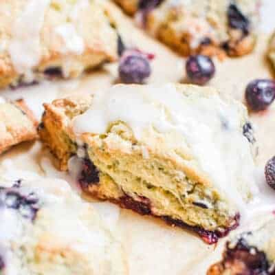 Soft and Tender Sourdough Lemon and Blueberry Scones
