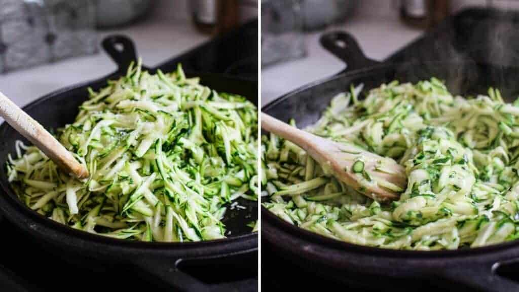 side by side pictures of grated zucchini cooking down until soft