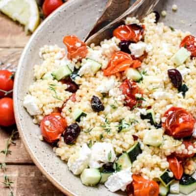 Summer Pearl Couscous Salad with Roasted Tomatoes, and Olives