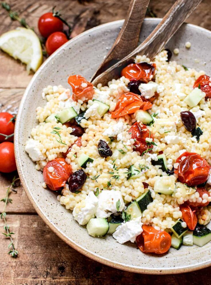 Pearl Couscous Salad with Roasted tomatoes, and Olives