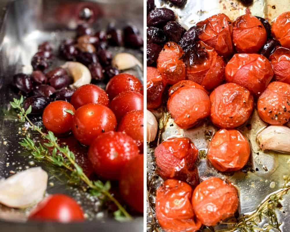 side by side photo of uncooked cherry tomatoes, thyme sprigs, olives and garlic cloves versus a photo of them cooked