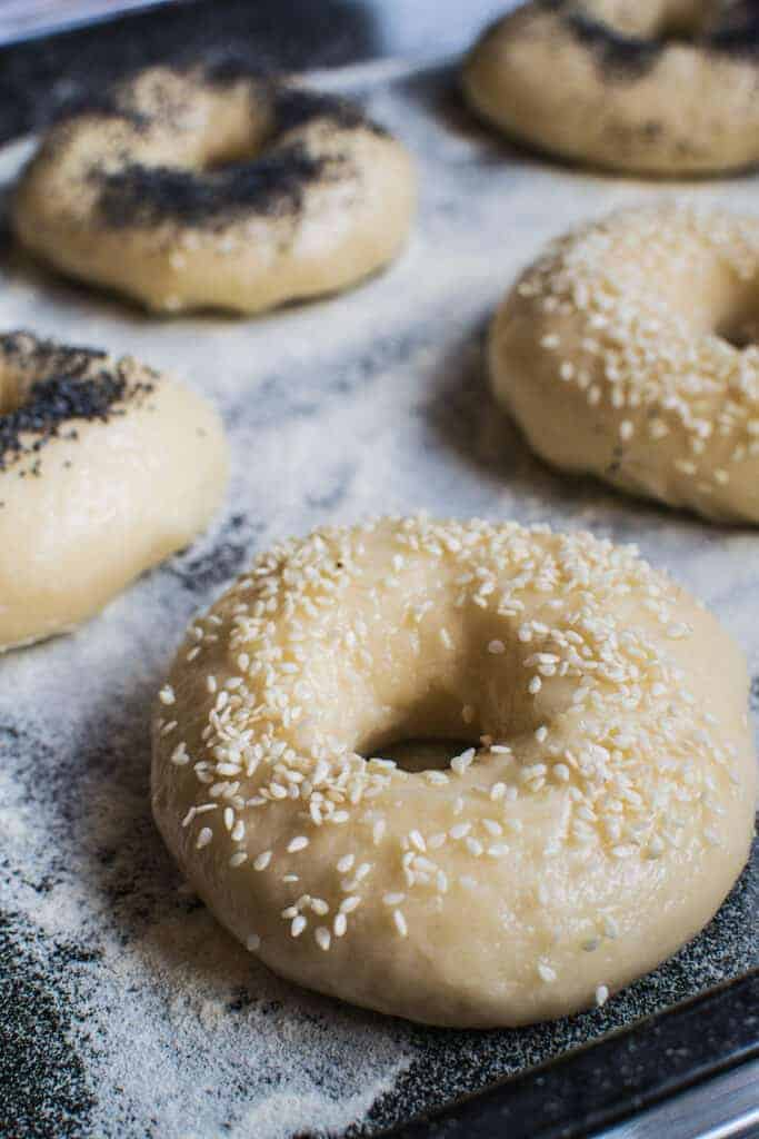 5 sourdough bagels that are unbaked on a floured black tray with poppy seeds on two and sesame seeds on three.