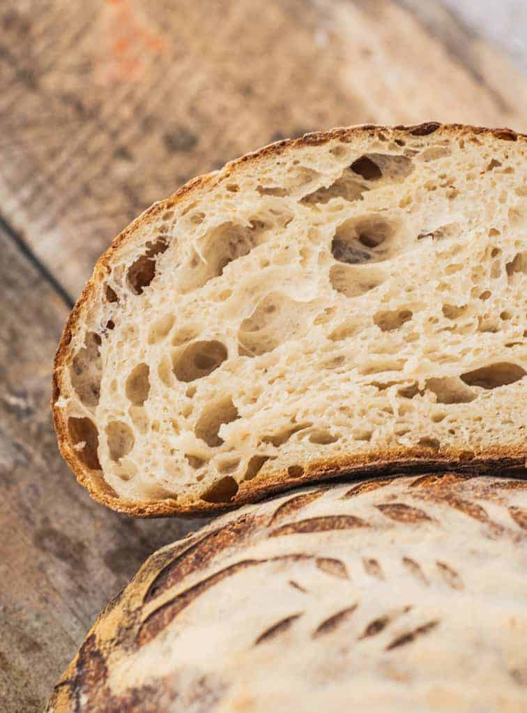 A close up of a half of sliced bread
