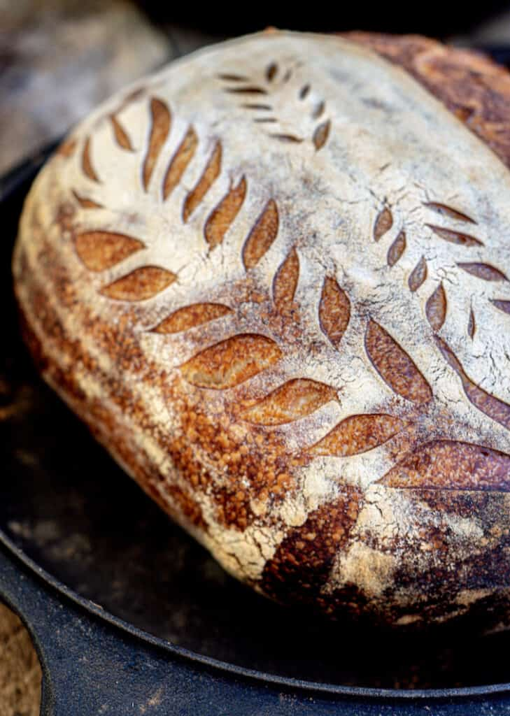 a close up of patterns scored into a loaf of bread. The bread is in a cast iron pan