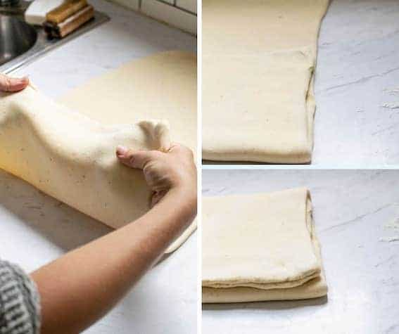 3 picture of dough being folded like a pamphlet