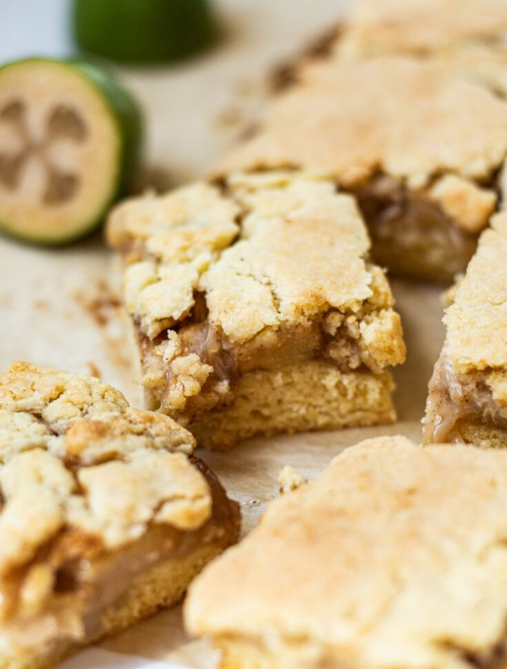 a close up of feijoa shortcake with a brown crackly crumble topping