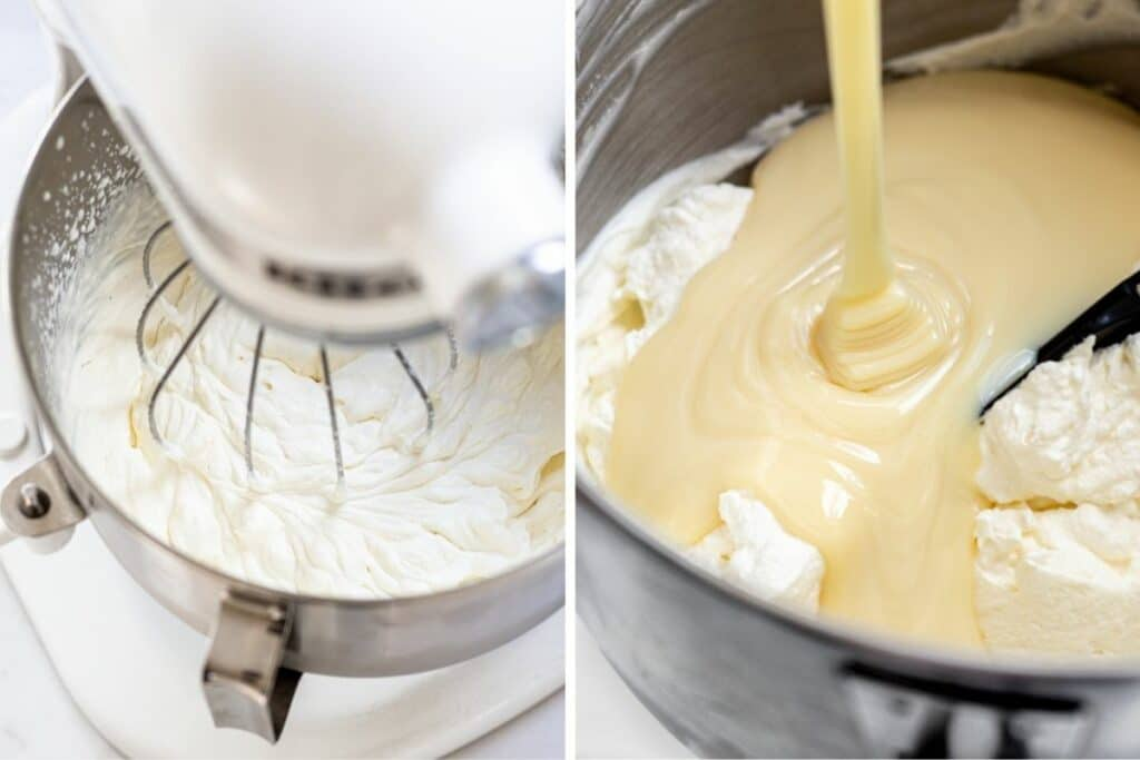 side by side of cream being whipped in a mixer and condensed milk being poured over top of the whipped cream