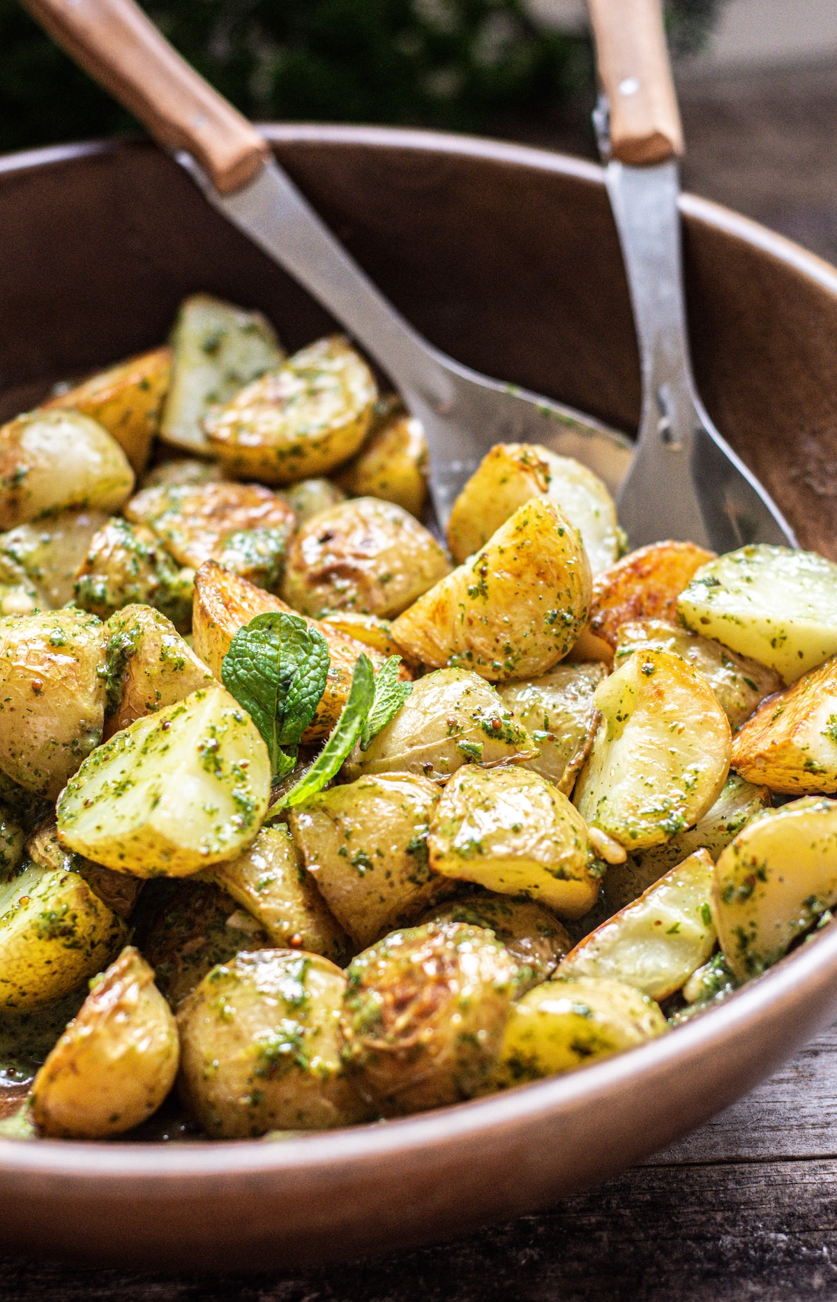 roasted dressing covered potatoes